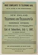 19th C Phone Book / New England Telephone And Telegraph Co Suburban Division 1st