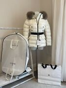 Moncler Clion Quilted Fur-trimmed Down Jacket Coat White Size 1 Small Rrp Andpound1345