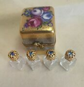 France Limoges Box Encrusted With Gold And Silver With 4 Perfume Bottles