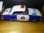 Vintage Trade Mark Modern Toys Tin Battery Operated Police Patrol Car