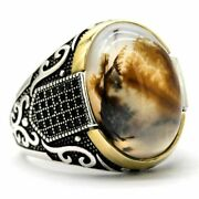 Genuine Pure 925 Sterling Silver Rings With Agate Stone Antique Wedding Rings