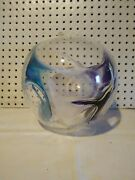 Peter Bramhall Hand Blown Glass Orb Sphere Ball Signed Dated 92 Teal Purple 10