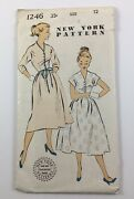 Vintage 1950snew York Sewing Pattern 1246 Womenandrsquos Dresses Size 12