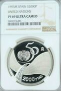 1995 Spain Silver 2000 Pesetas United Nations Ngc Pf 69 Ultra Cameo Top Pop