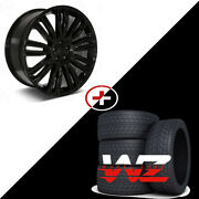 24 Gloss Black Wheels W/tires Fits Range Rover Discover Lr2 5x108