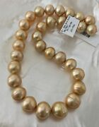 High Luster Intense Natural Color Golden South Sea Cultured Pearl Strand