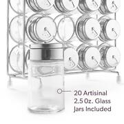 Spice Rack Organizer With Set Of 20 Glass Spice Jars Included By Mindspace   The