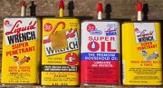Four Vintage Liquid Wrench Oil Tin Cans 4 Oz. Handy Oilers