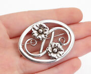 925 Sterling Silver - Vintage Shiny Floral Swirl Design Oval Brooch Pin - Bp1736