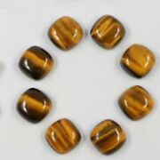 Natural Tiger Eye Loose Gemstones Cushion Shape Cabochon Size In 21mm To 25mm