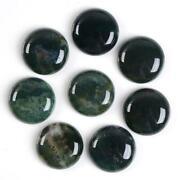 Aaa Quality Natural Loose Gemstone Green Moss Agate Round Cab 16x16mm To 20x20mm