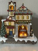 Carole Towne Fire Station No.24 Animated Truck Lighted Musical Christmas Village