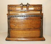 Large Antique 1700and039s Chinese Handmade Wood Wrought Iron Wedding Dowry Box Chest