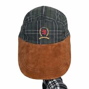 Vintage Long Bill 5 Panel Hat Plaid Made In Usa