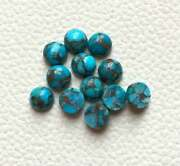 Natural Blue Copper Turquoise Loose Gemstones 16mm To 20mm Round Cabochon