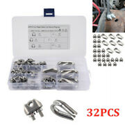 32pcs/set M3 Stainless Grip Clamp/clips Andndash Wire Rope Lashing Cable M6 U Bolt Nut