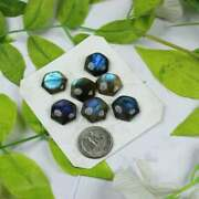 Natural Labradorite Hexagon Cabochon Loose Gemstone 6mm To 10mm Blue Fire