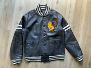 Rare Rugby Rrl Indian Head Leather Varsity Jacket Size M - L