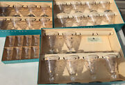 Vnt Libbey Royal Fern Gold Floral Cordial Wine Water Drinking Glasses 30 Pc Set