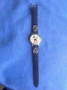 Vintage 1930and039s Ingersoll Mickey Mouse Wrist Watch. Band With Charms Nice Look.