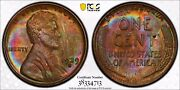 1929-s Ms63 Bn Pcgs Toned Rainbow Duel Sided Toner - Rare Date Lincoln Wheat 1c
