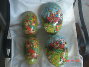 Lovely Lot 2 Large Vtg. Paper Mache Easter Eggs 8 West Germany And 9 1/2 Germany