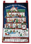 A Beary Merry Christmas Advent Calendar Bear Completed Finished Fabric Panel New
