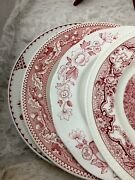 4 - Vintage China Mismatched Pink / Red Transferware Dinner Plates 146t