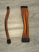 Frozen Cpu Sleeved Power Extension Cables - 24pin Mobo/8pin Eps - Orange/black