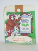 Vintage Smokey Bear Paper Bag Litter Bug Garbage Car Auto Truck Forestry Service
