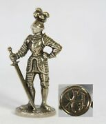Antique Silver Wax Seal Stamp Statue Armoured Knight Name Initials J.k. / K.j.
