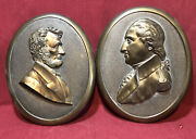 Heavy Cast Brass Wall Plaques Of Abraham Lincoln And George Washington