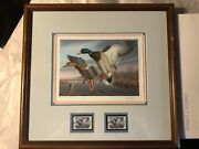 Vintage 1988 Ronald Louque Mallards Virginia Waterfowl Signed Stamps And Print
