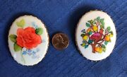 Vintage Hallmark Cards Cameo Pin Lot Rose And Partridge 1970's Brooch