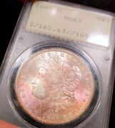 1885-o Pcgs Ms63 Ogh Rattler Rainbow Toned Color Morgan Old Green Holder Luster