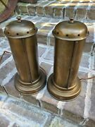 Rare Ethan Allen Nyc Brass Bronze Enclosed Candle Lamps Colonial Early American