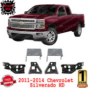 Front Bumper Bracket Impact Outer And Inner Pairs For 2011-2014 Chevy Silverado Hd