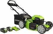 Greenworks 40v 21 Brushless Self-propelled Lawn Mower 2 X 4ah Usb Batteries A
