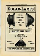1915 Badger Brass Co. Ad Solar-lamps For Automobiles - Kenosha Wisconsin Usa