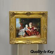 French Style Oil On Board Painting Of 2 Young Girls With Dog Signed Christiano