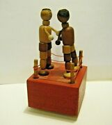 Kohner Vintage Thumb Finger Push Puppet Boxing 2 Boxer Wood Toy Hit And Miss