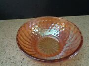 1960s Iridescent Marigold Peach Bubble Ribbed Glass Berry Bowl 7 1/2 Vguc