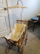 Antique Vintage Wicker 4-wheel Baby Carriage Stroller Doll Gold Parasol Cushion