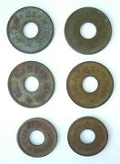 6 Vintage Doughnut Brass Trade Tokens 25 Cents Bowtie + 5 Cent Package Of Candy