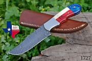 Hand Forged Damascus Steel Hunting Knife And Texas Flag Handle +sheath Ah-1727