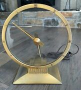 Vintage 1950 Jefferson Golden Hour Electric Mystery Clock 8 Glass Gold-working