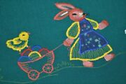 Easter Bunny Pulling Cart Of Eggs And Chasing Butterfly Vintage German Tablecloth