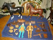 Johnny West And Jane 1965 Louis And Marx Co. With 2 Horses And Accessories Vg++ Nice