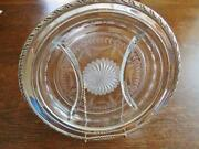 Wallace Divided Sectional Floral Glass Serving Tray Dish W/sterling Silver Rim