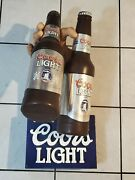 Vintage Rare Coors Light Hand Holding 2 Beers Display Sign Beer Bar Mancave Pub